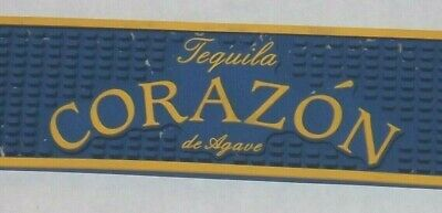 Corazon Tequila de Agave Bar Mat Man Cave Home Blue Yellow Rubber Advertising