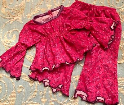Authentic American Girl Doll Clothes MAGENTA PAISLEY PRINT FRILLY PAJAMAS