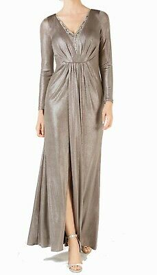 Adrianna Papell Womens Dress Gray Size 14 Gown V-Neck Embellished $259 123