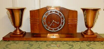 Ideal France Art Deco Walnut Clock Garniture with Copper Up-lighters (681)