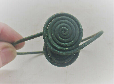 Rare Ancient Celtic La Tene Halstatt Twisted Bracelet With Spiral Terminals