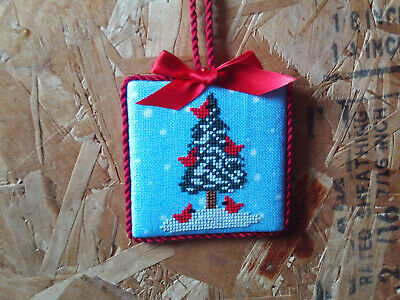 finished completed Cardinal Tree Snow Christmas cross stitch ornament