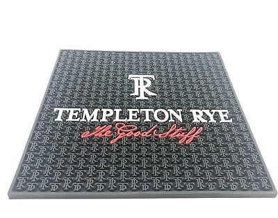 "Templeton Rye Whiskey Rubber Bar Spill Mat Large 17x16.5"" Black Drink Cocktail"