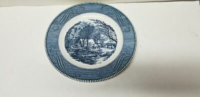 "Currier And Ives Royal China Blue ""The Old Grist Mill"" Dinner Plate 10"""