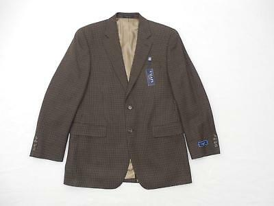 CHAPS Men's 100% Wool Lamb's Sport Jacket Blazer Houndstooth Brown Coat 42L $225