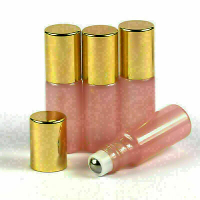 10pcs 5ml Pink Glass Roll On Bottles Metal Roller Ball Essential Oils Gold Cap