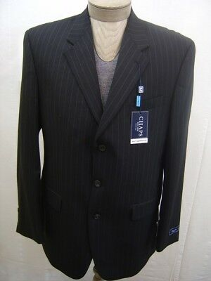 Chaps Mens 100% Wool Sport 3 Button Jacket Blazer Pinstripe Black Coat 42L $220