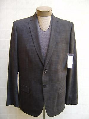 Calvin Klein Mens Wool Sport Coat Blazer Slim Fit Glen Plaid Jacket Gray XL $178