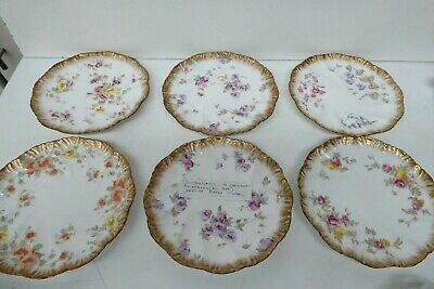 Antique Victorian Set 6 Hand Painted Plates - Pointons England Assorted Flowers