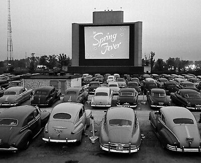 8x10 1950s Vintage Drive-in Theater Photo Classic cars screen Drive in