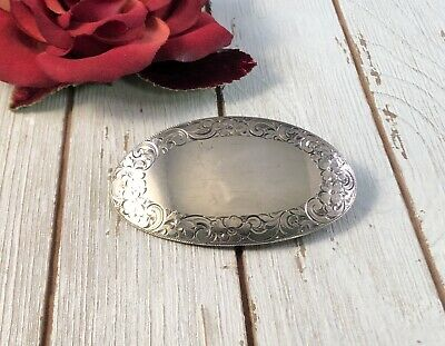 Antique Victorian Large English Sterling Silver Pin Brooch Engraved Flowers 400