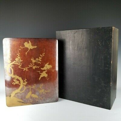 D794 Japanese Antique MAKIE URUSHI Lacquer painting Wooden Big box Cranes