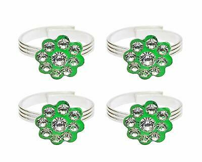Women Toe Ring Green Adjustable Beach Jewelry Silver Tone Foot Ring 4 Pcs FR278