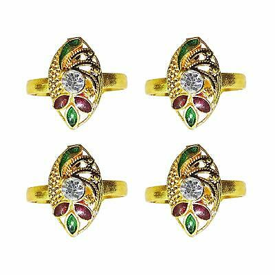 4 Pcs Toe Ring Women's Foot Ring Adjustable Jewellery Gold Plated Bichiya FR175