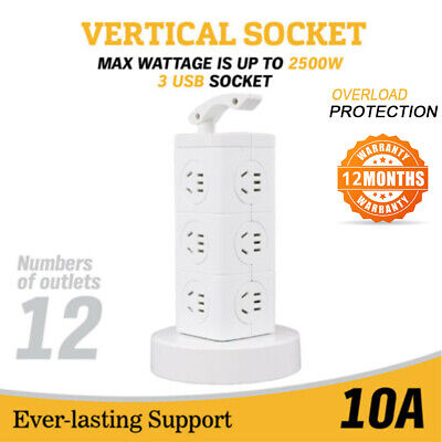 12 Ways Surge Protector Power Board Outlets Socket 3Level vertical socket 3Usb