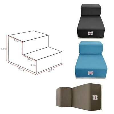 Pet Dog 2 Steps Soft Stairs Breathable Mesh Foldable Pet Bed Stairs Ramp