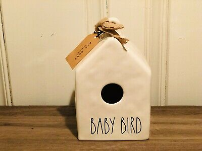 Rae Dunn Christmas Collection By Magenta Ceramic Square BABY BIRD Birdhouse HTF