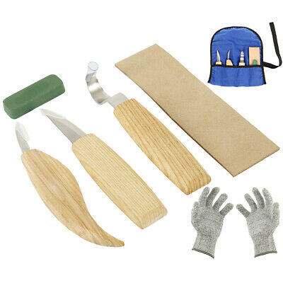 6Pcs Set Wood Carving Knife Chisel Woodworking Cutter Chip Hand Tool + Gloves'''