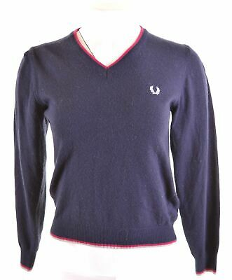 FRED PERRY Girls Jumper Sweater 13-14 Years Blue Wool  MG76