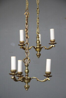 Pair hall lights antique French Provincial Louis antique chandeliers brass 1940