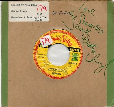 """Shangri Las - Leader of the Pack Fully autographed by girls 7"""" 1965 One off"""