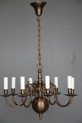 Antique Dutch or French Provincial 8 arm chandelier vintage bronze 1930 original