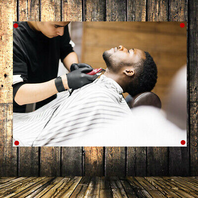 Shave Beard Retro Poster Flag Banner Tapestry Wall Mount Barber Shop Wall Decor
