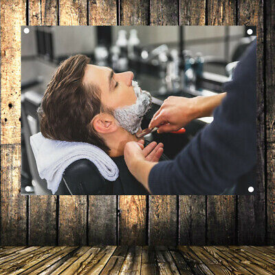 Shave Beard Retro Poster Flag Banner Tapestry Wall Mount Barber Shop Decor S2