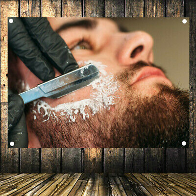 Shave Beard Retro Poster Flag Banner Tapestry Wall Mount Barber Shop Decor AB1