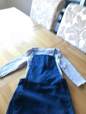 Girls Denim And Stripwd Nautical  Pinafore Dungaree Skirt And Top  Outfit Age 8