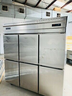 Upright freezer 6 half doors stainless steel Carel control French motor 1800x800