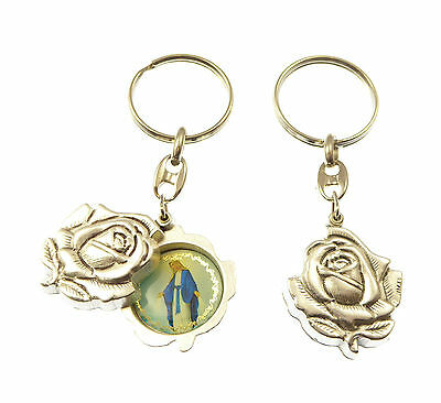 Silver rose slider Miraculous Mary keyring gift 8cm sliding double sided