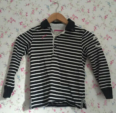 Joules Girls Blue Striped Sweatshirt, Age 6, Excellent Condition, Buttons, Pink