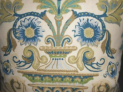 Schumacher Throw Pillow covers printed linen fabric FONTENAY VASE Blue new PAIR