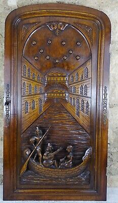 French Antique Architectural Hand Carved Walnut Wood Door Panel-Gondolier Venice