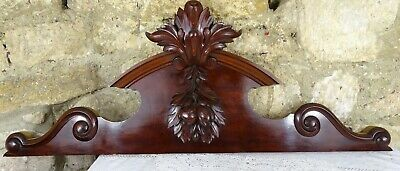 """39"""" French Antique Pediment Hand Carved Mahogany Wood Crest Fronton"""