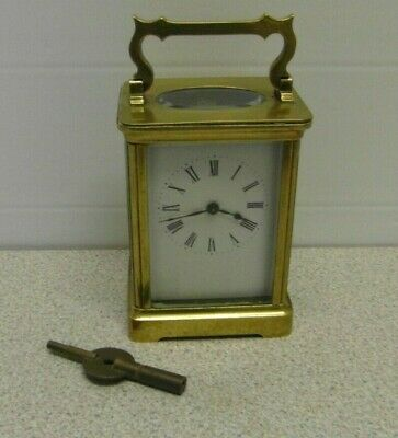 Vintage Heavy Brass Skeleton Carriage Clock with Key & Working