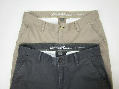 2 Pair EDDIE BAUER Women's Size 2 Boyfriend Fit Slim Leg Pants Khaki Tan & Gray