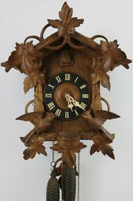 LARGE ANTIQUE CUCKOO CLOCK beautiful carved walnut case AUTOMATED CUCKOO