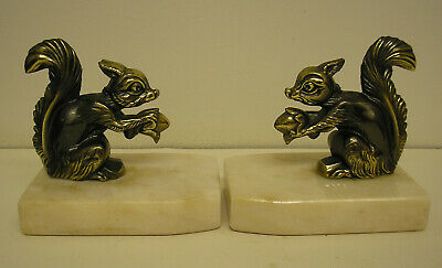 French Art Deco Spelter Squirrel Bookends On Marble Stand