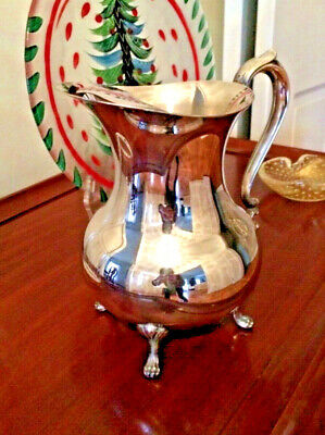"Vintage Silver Plate Silverplate Footed Water Pitcher with Ice Lip - 8.5"" tall"