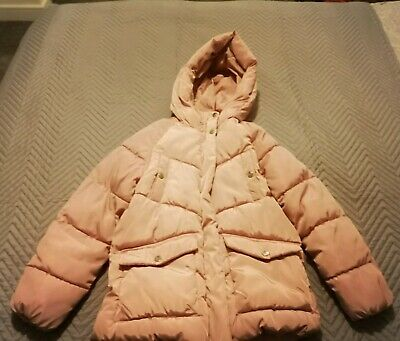 Girls ZARA Pink Hooded Winter Jacket - age 10 Years - Beautiful condition