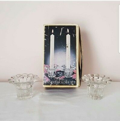 2 Crystal Clear Cut Glass Candle Holders
