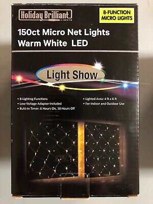 Holiday Time 150 Cool White Led Net Lights New Green Wire