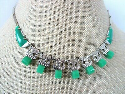 1920's ART DECO GREEN ART GLASS EMBOSSED SILVER PLATED BIB NECKLACE**BRILLIANT!