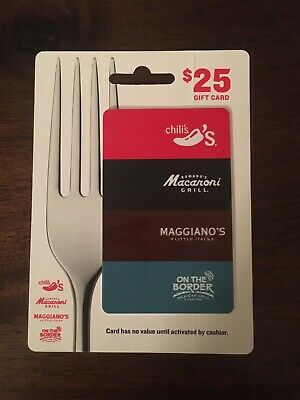 $25.00 Chili's, Maggiano's, On the Border, Macaroni Grill Gift Card! Ships Free.