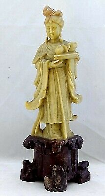 "Soapstone Figurine 8"" Tall Hand Carved Vintage WOMAN CARRYING TRAY OF FRUIT"