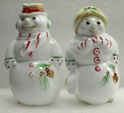 Fenton Christmas Snowman & Snowlady Green,Red Candy W/Pine Cones Hp-Label-Mib