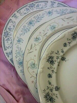 4 Vintage Mismatched China Dinner Plates Blue Wedding Baby Shower Tea Party #268