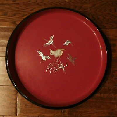 Antique Japanese Black & Red Lacquer Wood Tray Mother of Pearl Oriental Birds